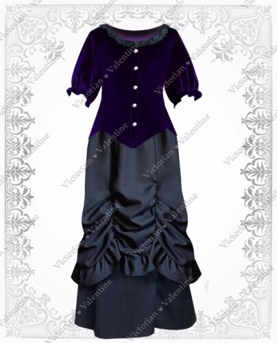 Victorian Dresses | Victorian Ballgowns | Victorian Clothing    Victorian Steampunk Gothic Civil War Renaissance Velvet Top Bustled Skirt Dress $91.99 AT vintagedancer.com