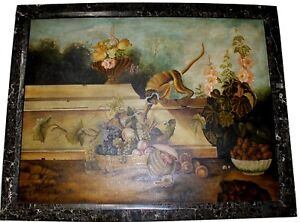 Maitland-Smith-Monkey-Stealing-Fruit-Oil-Painting-w-Tessellated-Stone-Frame