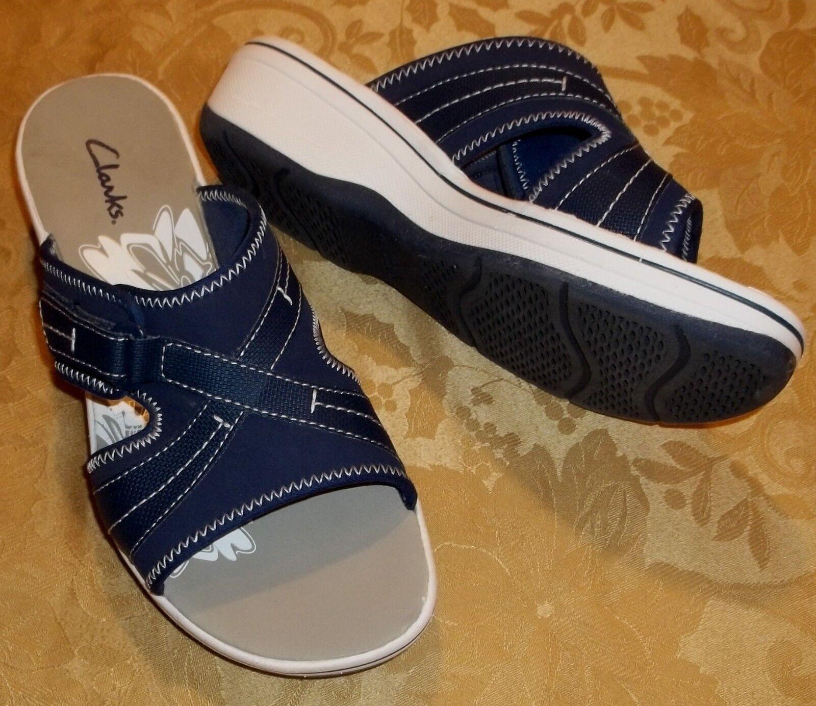 kvinnor CLARKS, [blå [blå [blå SLIDES] SANDALS [storlek 9] [nyA öppna tår för tillfälliga skor]  120  snabba svar