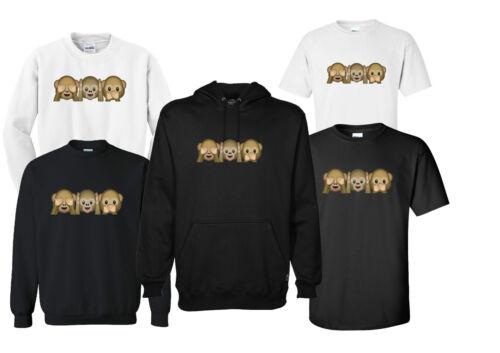 3 scimmie sagge EMOJI unisex maglietta felpa pull over Felpa con cappuccio regalo divertente