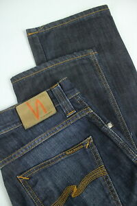 Nudie Slim Jim Cold Denim Homme W29/L32 Extensible Bleu Zip Fly Jean 3986_ MM