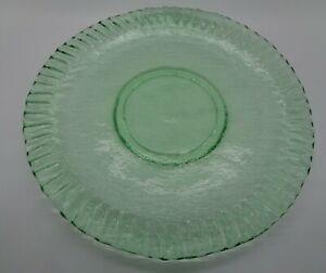 "Signed GILMOR Art GLASS Textured GREEN PLATE Fluted Ruffled Edge 9.5"""