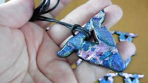 (D-steer) DICHROIC GLASS BULL COW head Longhorn TEXAS Pendant JEWELRY necklace