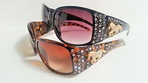 Womens-Fashion-Sunglasses-Rhinestones-Horse-Cowgirl-Style-Bling