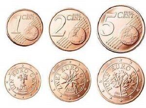Doux Monnaie 1,2,5 Centimes Cent Cts Euro Autriche 2005, Neuves Du Rouleau, Unc