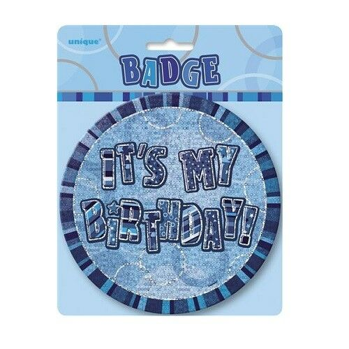 "Blue Glitz It/'s My Birthday Giant 6/"" Birthday Badge Party Badges Decorations"
