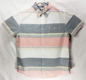 25e333b6f449a Vtg HANG TEN Striped Button Up EUC White Pink Gray Men s Size X ...