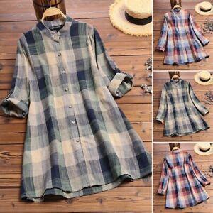 ZANZEA-8-24-Women-Tartan-Plaid-Check-Button-Down-Shirt-Tee-Top-Long-Tunic-Blouse