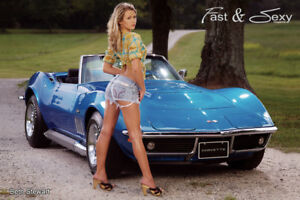 sexy pic hot Corvette girls on cars