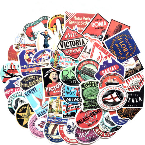 Set Of 55pcs Vintage Style vinyl stickers Travel Suitcase Luggage Labels Newly