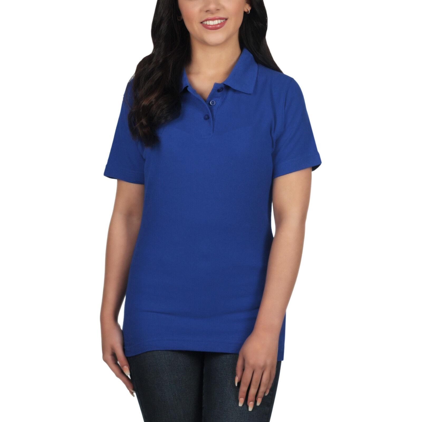 526ea9d18993 Ladies Polo Shirt Short Sleeve Womens Plain Pique Classic Top T ...