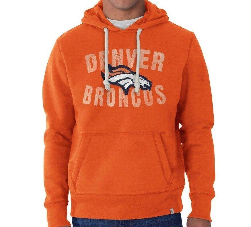 New  47 BRAND NFL Denver Broncos Pullover Orange Hoodie