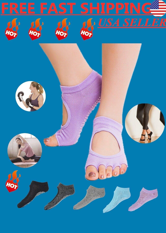 2*Non-Slip Full Toe Yoga Pilates Ankle Grip Half Socks Cotton Massage Gym Sports