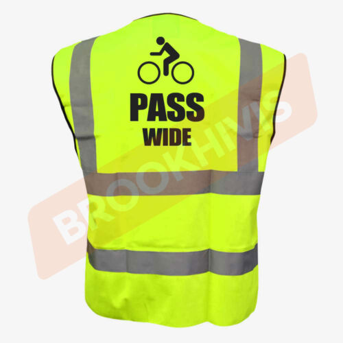 PASS WIDE YELLOW HI VIZ VIS CYCLE WAISTCOAT VEST TABARD SAFETY