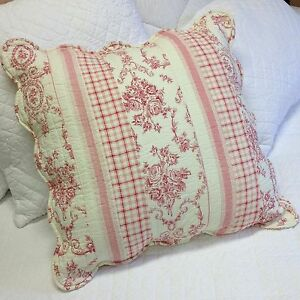 Shabby Chic Pink Pillow Shams : Shabby Chic Toile Euro Pillow Sham Case Cover Pink Quilted 60x60cm (24x24