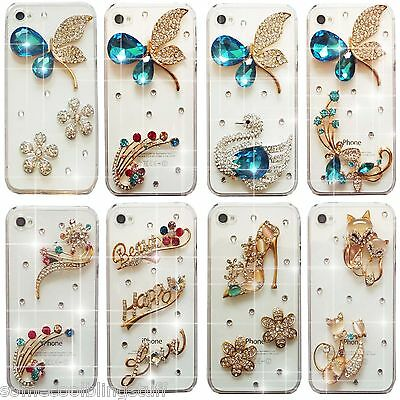 NEW 3D BLING COOL DELUX BUTTERFLY CAT DIAMANTE CASE COVER 4 SAMSUNG iPHONE SONY