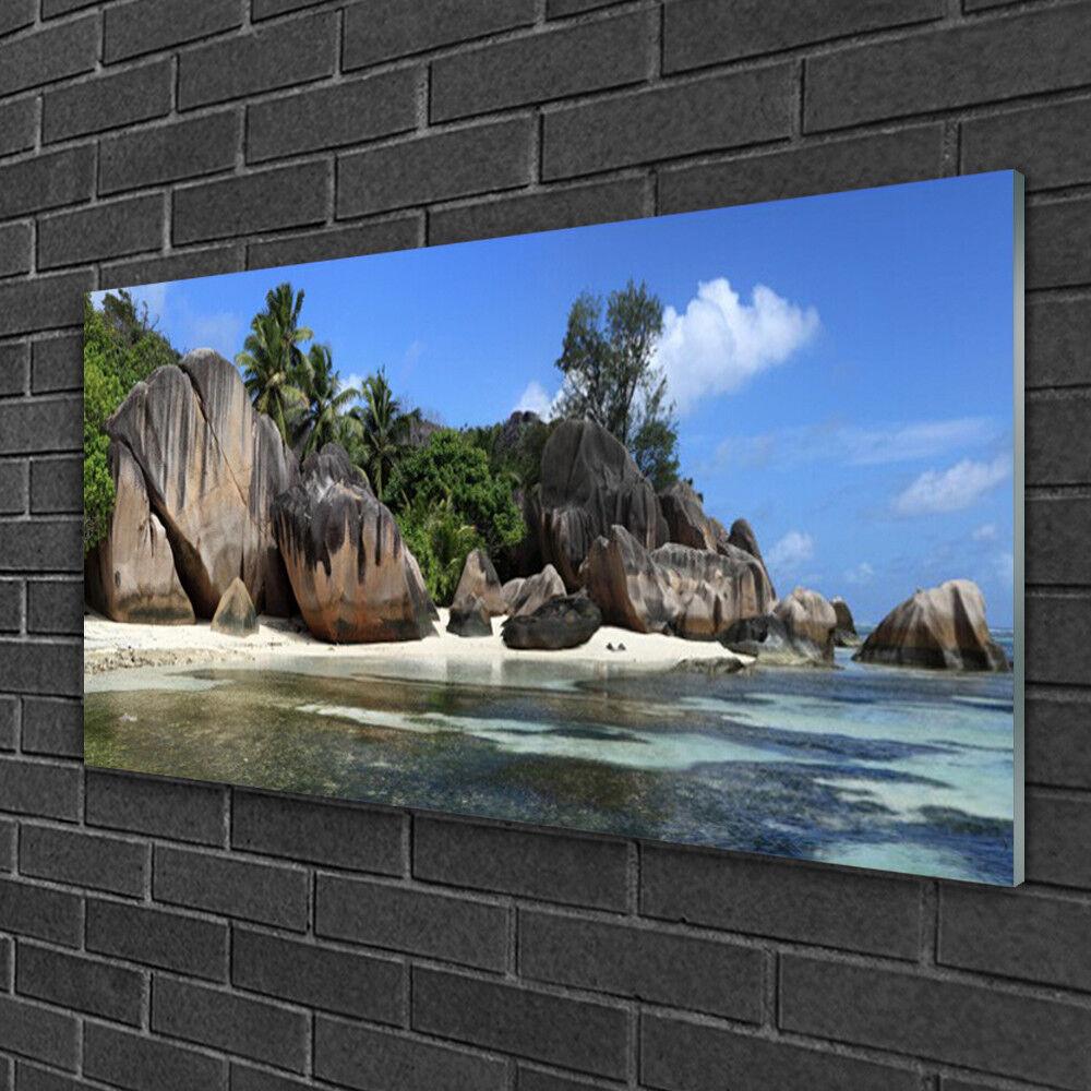 Image sur verre acrylique Tableau Impression 100x50 Paysage Roche Mer