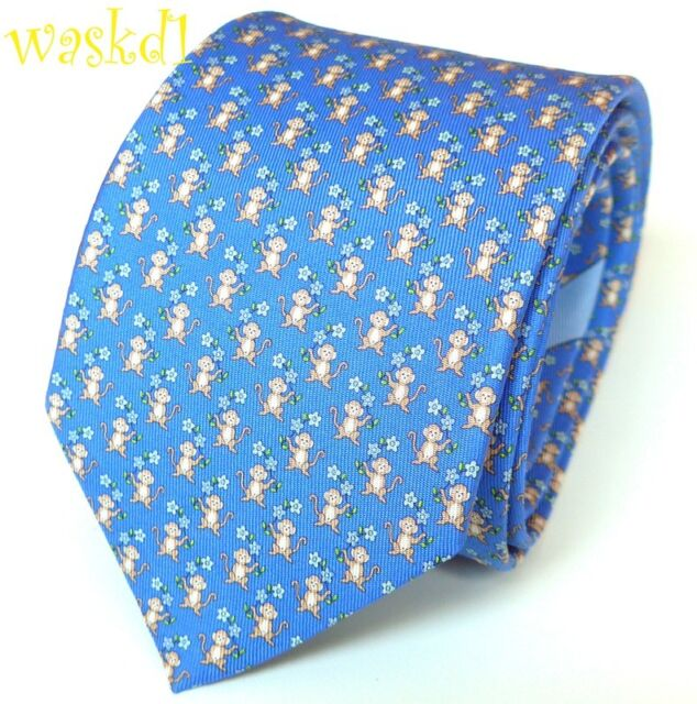 e85282fc3b64 SALVATORE FERRAGAMO periwinkle blue MONKEYS with FLOWERS silk MENS tie NWT  Auth