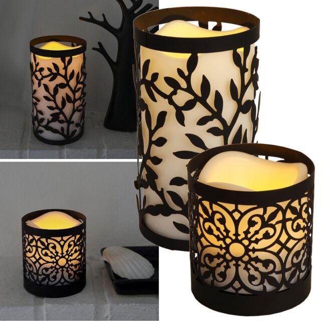"""Laterne mit LED Kunststoff-Kerze """"Lantern"""" Timer / flackernde flammenlose Candle"""