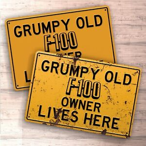 Grumpy old Ford tractor owner lives here sign for garage home man cave