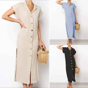 ZANZEA-Women-Buttons-Down-High-Split-Long-Shirt-Dress-Lapel-Sundress-Plus-Size