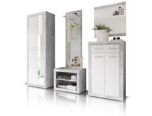 Garderobe-Garderobenschrank-STAN-V-Spiegel-Wandgarderobe-Diele-Beton-Weiss-Dekor