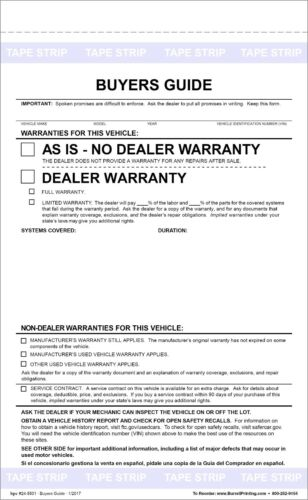 FEDERAL BUYERS GUIDE AS-IS NO WARRANTY FORM Pack of 500