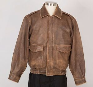 CABELA-039-S-Men-s-Distressed-Leather-Bomber-Jacket-M-Medium-Brown-Insulated