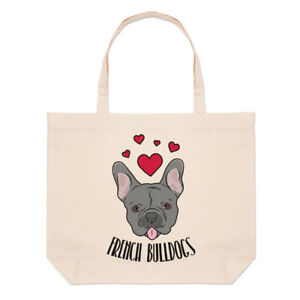 Love-French-Bulldogs-Large-Beach-Tote-Bag-Dogs-Dog-Puppy-Funny-Shoulder