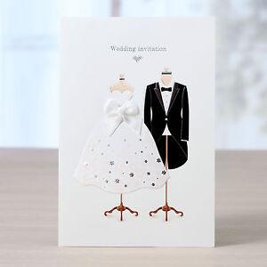 Custom Black White Wedding Invitations Dress Tuxedo Free Proof