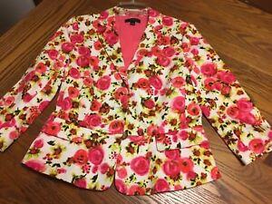 82753ac92c93 EUC! Ann Taylor pink stretch floral 3/4 sleeve lined blazer jacket ...