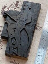 Fireman Rare Letterpress Wooden Printing Block Very Rare Wood Print Type