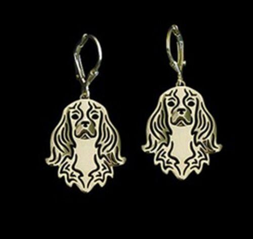 Cavalier King Charles Spaniel Dog Earrings-Fashion Jewellery Gold Plated
