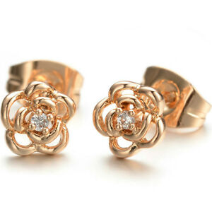 c412323a8 Small 7mm flower shaped rose gold girls stud earrings quality ...