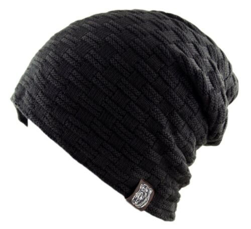 Waffle Ribbed Knit Winter Warm Faux Fur Fleece Lining Slouch Beanie Ski Cap Hat