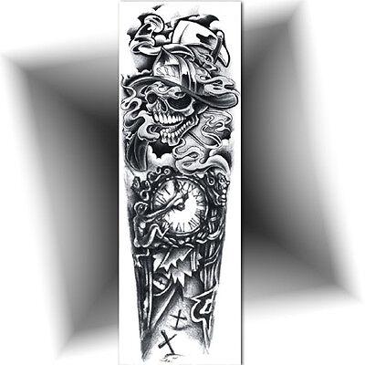 Tatouage Temporaire Manchette Le Temps Tattoo Provisoire Bras Entier Ebay