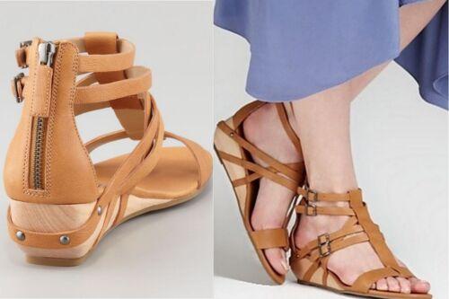 Eileen Fisher Echo Brown Chestnut Wedge Gladiator Zip Buckle Shoes 8 11 8.5 10