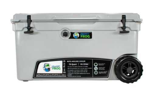 Frosted Frog Gray 70 Quart Ice Chest Heavy Duty Insulated Cooler with Wheels