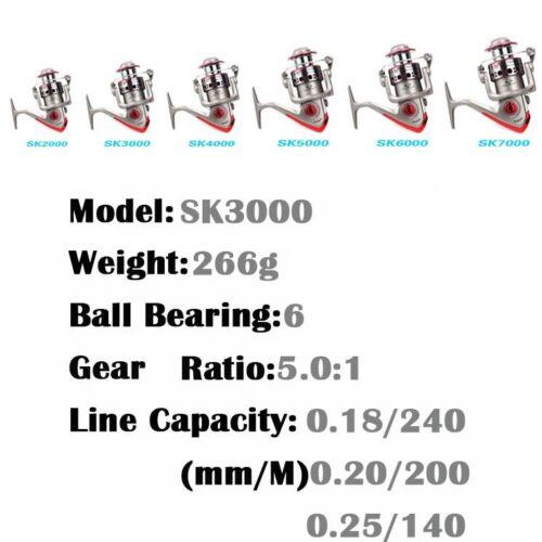 New Aluminum Spool 6BB  High Speed Gear Ratio 5.1:1 Spinning Fishing Reel SK
