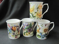 Spring Suite Of Four Different, English Made Fine Bone China Mugs , Adderley