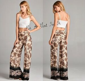 f928fe1846446 Details about PLUS SIZE BLACK BROWN GOLD PAISLEY BOHO WIDE LEG TALL PALAZZO  PANTS 1X 2X 3X