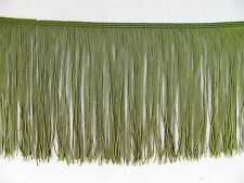 """FOUR YARDS in 2 PIECES of Beautiful 6"""" Avocado Chainette Fringe Trim ~ Lampshade"""