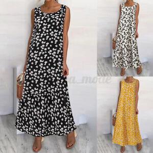 Size-Womens-Long-Sleeveless-Floral-Ladies-Summer-Beach-Loose-Swing-Maxi-Dress-UK
