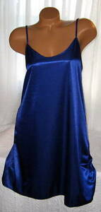 Shiny-Poly-Satin-Chemise-1X-Royal-Blue-Plus-Size