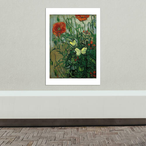 Butterflies and Poppies Vincent Van Gogh 1890 Wall Art Poster Print