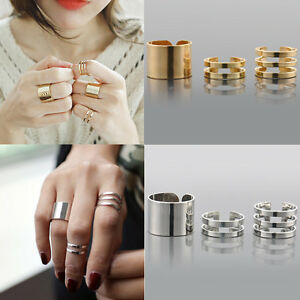 3PCS-Set-Punk-Gold-Silver-Stack-Plain-Band-Midi-Mid-Finger-Knuckle-Ring-Set