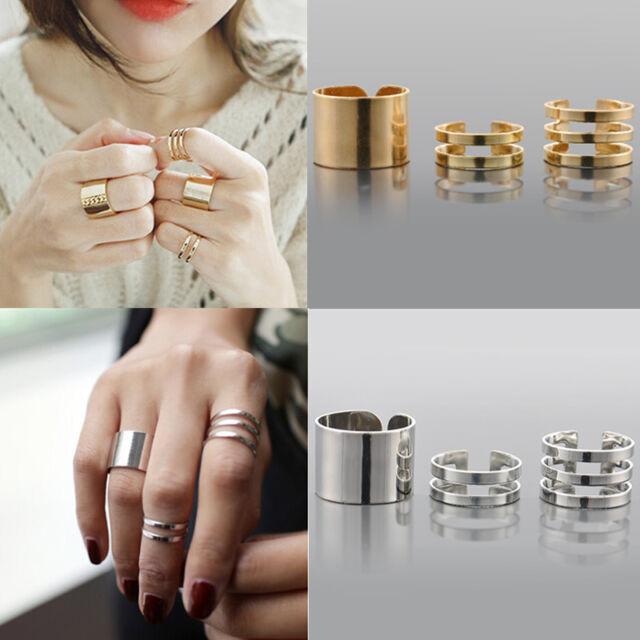 Fashion 3PCS/Set Shiny Plain Band Midi Finger Knuckle Stack Rings Gold &Silver