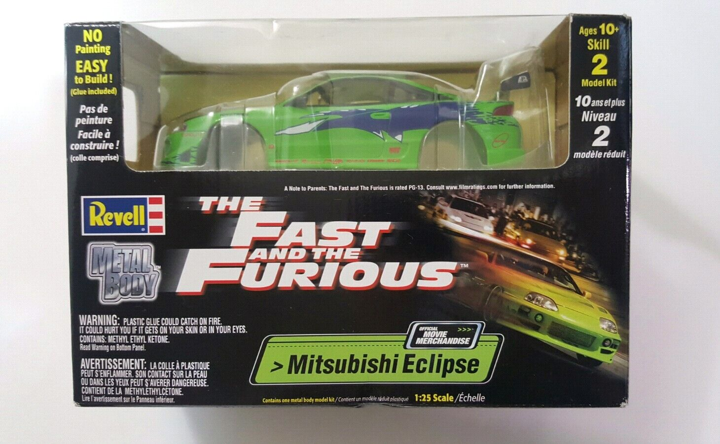 Rare Fast and the Furious Eclipse Diecast Build Kit from Original 1st Movie