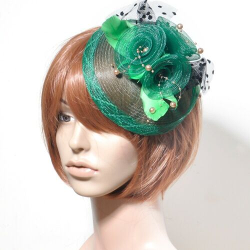 Women Handmade Fascinator Hair Clip Accessory Feather Mesh Veil Lace Party Gift
