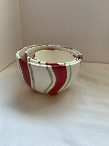 Set of 3 red white and Green Mixing Nesting Bowls